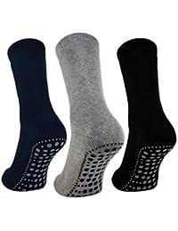 3 oder 6 Paar Damen & Herren ABS Socken PREMIUM Anti Rutsch Socken Stoppersocken Noppensocken Schwarz Blau Grau - 8600 - Sockenkauf24