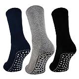 sockenkauf24 3 oder 6 Paar Damen & Herren ABS Socken PREMIUM Anti Rutsch Socken Stoppersocken Noppensocken Schwarz Blau Grau - 8600