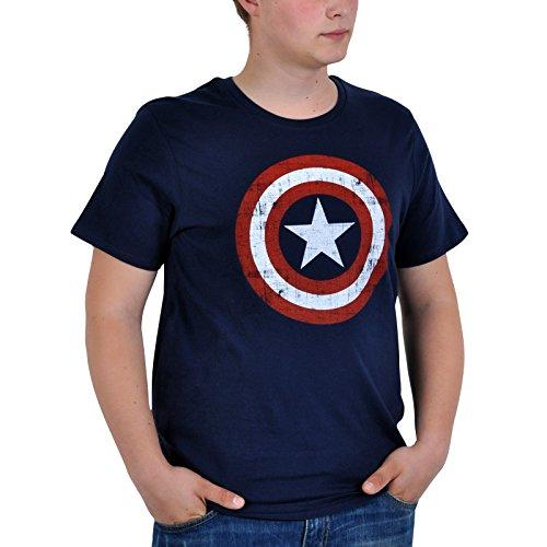 Captain America T-Shirt Shield Logo navy Size S CODI