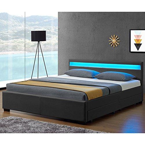Juskys LED Polsterbett Lyon mit Bettkasten 140 x 200 cm - Bettgestell mit Lattenrost - Kunstleder - grau - Jugendbett Jugendzimmer Möbel