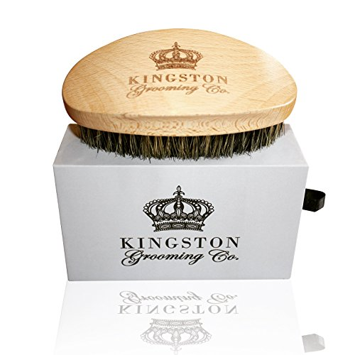 Kingston Grooming- Professional Quality, 100% Natural Wooden Dual Boar Hair Bristle Beard and Hair Brush for Men. Solid Beechwood and Engraved Contour Design with Travel Case. by Kingston -