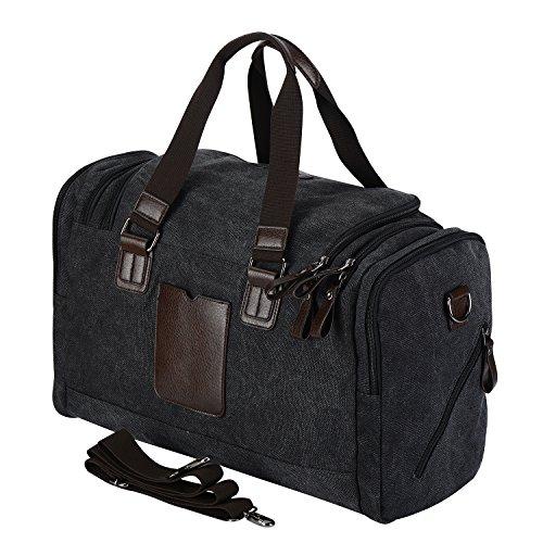 WodsWod Segeltuch Reisetasche, Weekend Schulter Holdall Tasche, Schultertasche, Handtasche Schwarz