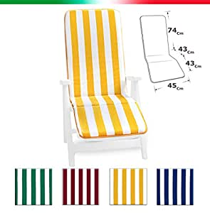 Universal Folding Sun Lounger Cushions in Cotton with Foot ...