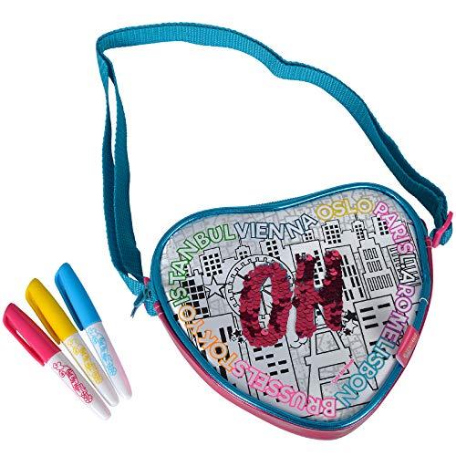 #1018 Color Me Mine Handtasche in Herzform zum Bemalen mit Wendepailletten inklusive Stifte • Bag Herz Tasche Wende Pailletten Umhängetasche