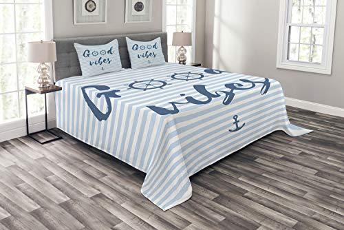 ABAKUHAUS Good Vibes Tagesdecke Set, Nautical Maritime, Set mit Kissenbezügen luftdurchlässig, für Doppelbetten 220 x 220 cm, Nachtblau Babyblau