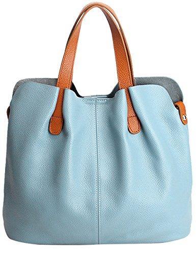 Menschwear Damen Echtes Leder Handtasche Elegant Taschen 2pcs Licht-Lila Blau