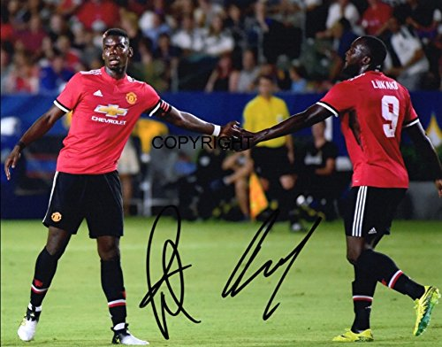 LIMITED EDITION ROMELU LUKAKU PAUL POGBA SIGNED PHOTOGRAPH + CERT PRINTED AUTOGRAPH