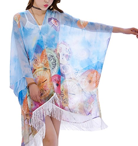 Cheerlife Damen Blumenbluse Quasten Chiffon Schal Bluse Shirt Kimono Cardigan Strandkleid Bikini Cover Up Blau