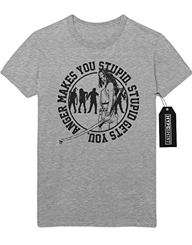 T-Shirt The Walking Dead TWD Michonne Zombies Anger Makes You Stupid C980048 Grau
