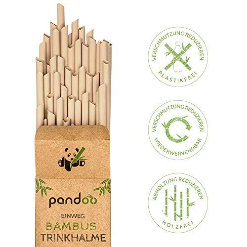 pandoo 50 Plastikfreie Einweg-Strohhalme aus Bambus und Pflanzenfasern   100{f1b0402bae78d2e84ea59c1023bef53163fee6e465870525ce9d4ee27b6044cb} biologisch abbaubar   Kompostierbare Trinkhalme   Super Alternative zu Plastik Strohhalmen