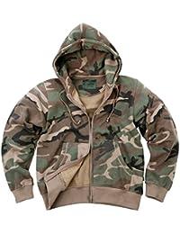 AlxShop - Sweat À Capuche Fermeture Zip - Camouflage - Uni - Couleur : Woodland - Taille : 48/XL - Couleur : Woodland