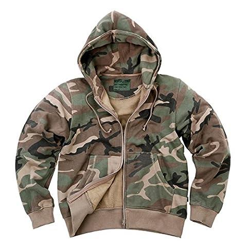 AlxShop - Sweat À Capuche Fermeture Zip - Camouflage - Uni - Couleur : Woodland - Taille : 48/XL - Couleur :