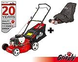 Grizzly Benzin Rasenmäher BRM 4210-20 1,6 kW 2,1 PS 42 cm Schnittbreite 5 Fach Höhenverstellung inklusive Abdeckhaube