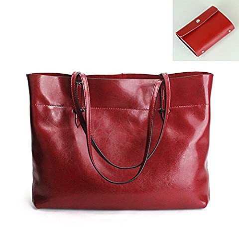 Blazar Vintage Stil echtes Leder Bordeaux Handtasche Damen groß Kapazität Umhängetasche Shopper Modern Schultertasche Beutel Tote-Geldbeutel 38 x 28 x 13cm (L x H x