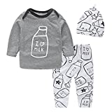 Yilaku Newborn Baby Clothes Set Spring Long Sleeve Tops Trousers 2pcs Outfit Sets for Baby Boys Girls