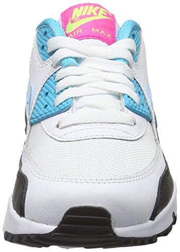Nike - Air Max 90 Mesh (Gs), Scarpe sportive Bambina Bianco (Blanco (Blanco (White / Gmm Bl-Pnk Blst-Ghst Grn)))