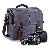 FOLUR Waterproof Vintage DSLR SLR Camera Messenger Bag Leather Satchel Canvas Shoulder Bag with Shockproof Interior
