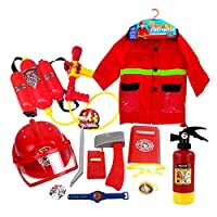 12pcs Fire Chief Role Play Costume Dress-Up Set, Premium Washable Kids Fireman Costume and Firefighter Accessories with Real Water Shooting Extinguisher