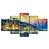 WLHQH 5 Stück Leinwand Kunstdruck Ölgemälde Stil Wandbild Kunstdruck Wohnzimmer Wanddekoration 150x80cm Leinwandbild Geeignet für Heimtextilien(Ohne Rahmen)