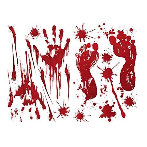 BESTOYARD Blutige Splatter Aufkleber Abziehbilder Blut Fingerabdrücke Fußabdrücke Fenster Aufkleber für Halloween Aufkleber Aufkleber Party Dekoration 2 STÜCKE