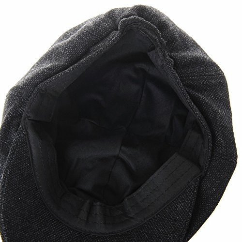 WITHMOONS Coppola Cappello Irish Gatsby Newsboy Hat Wool Felt Simple Gatsby  Ivy Cap SL3525 (Black) 728b1827a620