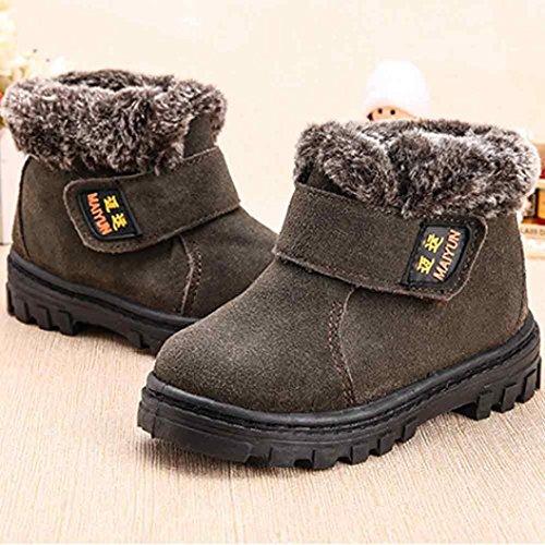 Jamicy® Baby Kind Kinder Mädchen Mode Winter Stil Baumwolle Stiefel warme Schneeschuhe Gray