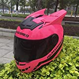 MGF Motorrad Helm Katze Ohren Persönlichkeit Full Hair Helm 5 Farbe,Pink,M