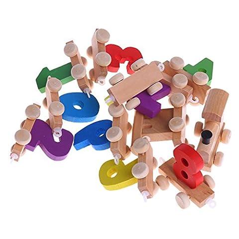 Logres Wooden Digital Train 0-9 Number Kids Preschoolers Learning Educational Toys Gift
