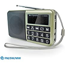 PRUNUS™ Radio portable FM/ MW/SW et lecteur Mp3 intégré par port USB et micro-SD (de 8 à 64 Go).Un HP en néodyme pour une très belle qualité d'écoute. Clavier du tableau de bord doté de grands boutons très lisibles. Batterie rechargeable. Stockage automatique des stations radio grâce au bouton SCAN.