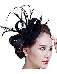 Kapmore Femmes Sinamay Fascinator Parti Feather Hat Pillbox Hat Flower Derby Hat