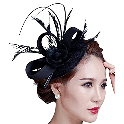Lukis Women Bridal Fascinator Flower Hat Feather Head Clip For Party Wedding Brooch Pin K6Apwhg8