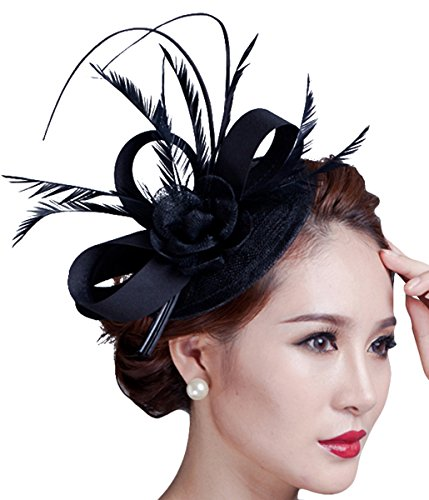kapmore-hat-pillbox-della-piuma-del-partito-donne-sinamay-fascinator-cappello-derby-fiore-black