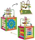 XL Motorikschleife + Spielwürfel aus Holz - Lernuhr + Zählrahmen + Schiebespiel + Xylophon + Schleife - Motorikwürfel / Tier Holzfigur zum Schieben / Ziehen - Motorikspielzeug - Spielzeug für Kinder Mädchen Jungen