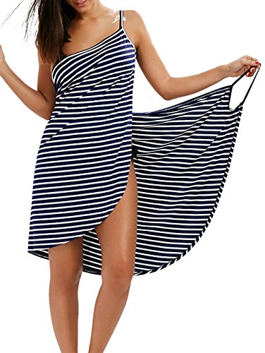 Fee-Lice Damen Lang Kleid Ärmellos Striped Open Back Sommer Strand Wickelkleid Bademantel Handtuch Reise Spa Schwimmen Große Größe (M, Blau-Streifen) (Open Back Lange Kleid)