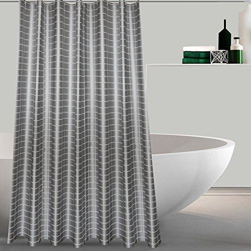 Gitter duschvorhänge, Duschvorhänge stoff Bath vorhang Gepolsterte Wasserdicht Mehltau Nordische Tuch Freier stempel Duschvorhänge für badezimmer-Grau W120xH180cm(47x71inch) (Gitter-duschvorhang)