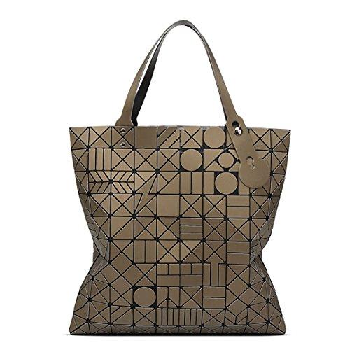 Geometric Lingge Matte Women Borse Pruse Borsa a tracolla portatile pieghevole di grande capacità Brown 40x40 cm