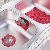 mDesign Set de Cuisine (3 pièces) pour évier 2 bacs - Accessoires de Cuisine en Plastique pour l'évier - Filtre évier, Tapis d'évier et Porte - éponge, Design Floral - Rouge