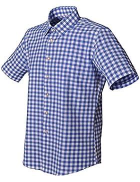 Trachtenhemd Henrik polar blau kurzarm Almsach