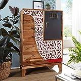 FineBuy Highboard ANJA 75x120x45 cm Akazie Massivholz Landhaus Holzschrank | Kleiner Schrank Schlafzimmer mit Schubladen | Dielenschrank Anrichte schmal | Kommode modern | Sideboard bunt