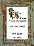 Set von 2 Bilderrahmen aus Holz cmgdecor mit gebeiztem Vintage Modell F10 10 X 15 Cm hellgrün