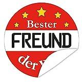Bester Freund Aufkleber | Geschenkidee bester Freund | inkl. Postkarte Alles Gute | rund | 9,5 cm | Gestalten Sie Ihre Geschenke individuell