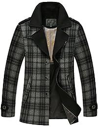 Yasong Men Turn-down Collar Breasted Blazer Jacket Wool Coat Peacoat Trench Jacket