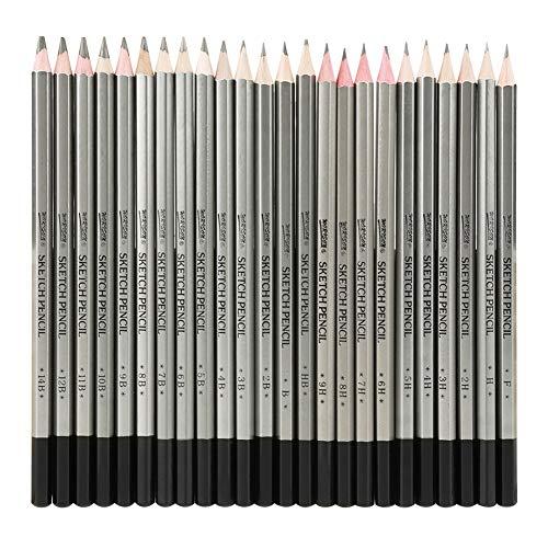 24 Stücke Skizze Kunst Graphit Zeichnung Bleistift Ungiftig Farbstift 9H-14B