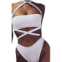 KAIFANG Verano Sexy bañadores de Vendaje de Las Mujeres Bikini Halter Bañador Bikini Set, Blanco
