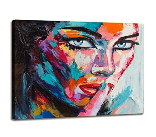 80 x 60 cm Bild auf Leinwand buntes Gesicht Frau 4006-SCT deutsche Marke und Lager - Die Bilder/das Wandbild/der Kunstdruck ist fertig gerahmt -