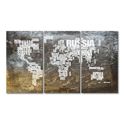 """WandbilderXXL® Gedrucktes Leinwandbild""""Weltkarte Nr.20"""" 180x100cm - in 6 verschiedenen Größen. Fertig gespannt auf Holzkeilrahmen. Günstige Leinwanddrucke für Kinderzimmer Schlafzimmer."""