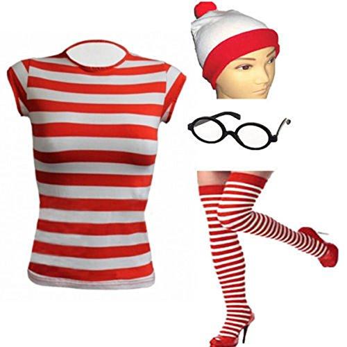 GCC Fashion Store Damen T-Shirt, gestreift, Aufschrift Where -
