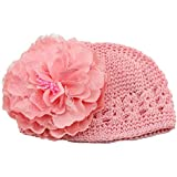 Lookatool Flower Toddlers Infant Baby Girl Lace Hair Band Headband Headwear Hat Crochet (Pink)