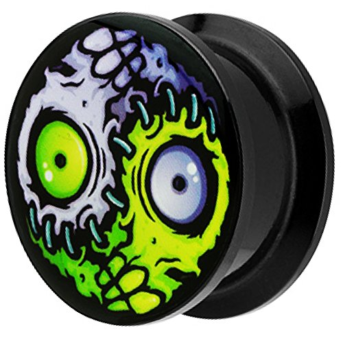 Piersando Ohr Plug Piercing Kunststoff Motiv Comic Picture Flesh Tunnel Ohrplug mit Horror Yin Yang Auge Schwarz 10mm