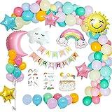 MMTX Decorazioni per Feste di Compleanno Pastello, Palloncini Compleanno Cielo Tema con Happy Birthday Banner,Stella Arcobaleno Nuvole Luna Sole Palloncino per Il Genere Rivela Ragazze Ragazzo Donne
